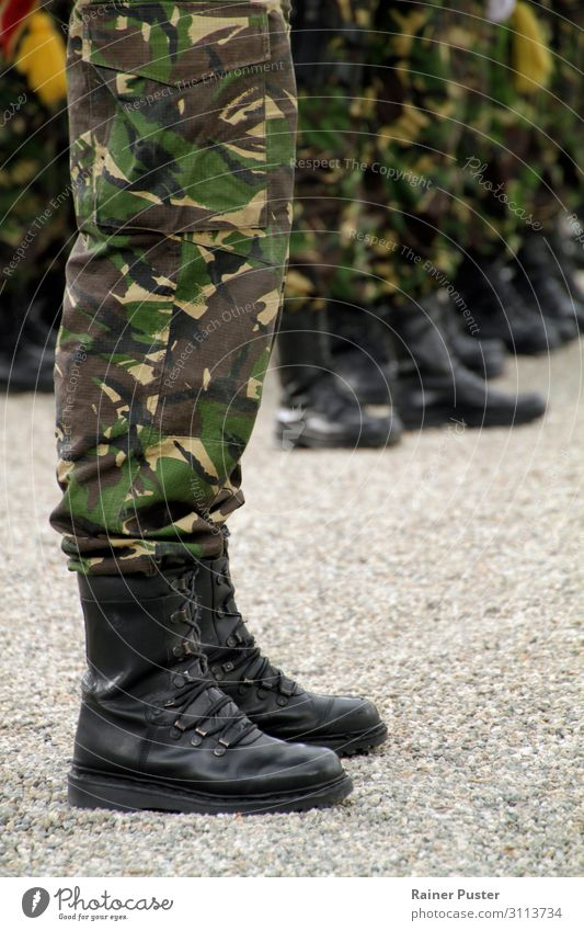 Detail of a soldier during a ceremony Soldier Military Masculine Man Adults Legs Feet 18 - 30 years Youth (Young adults) cluj Romania Uniform Boots Honor