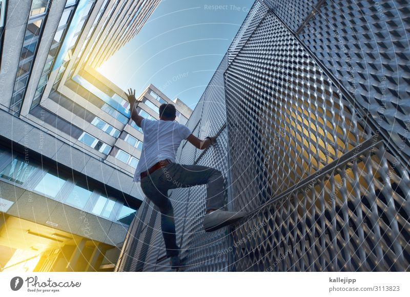 a handful of sky Human being Man Adults 1 45 - 60 years Town Manmade structures Building Architecture Facade Athletic Climbing Parkour Heaven Grasp