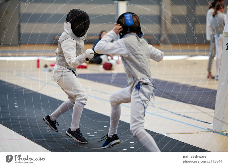 Fencing Fight Sports Martial arts Sportsperson Sports team Mask fencing mask Sporting Complex Sporting event Sportswear Helmet Movement Joy Brave Safety