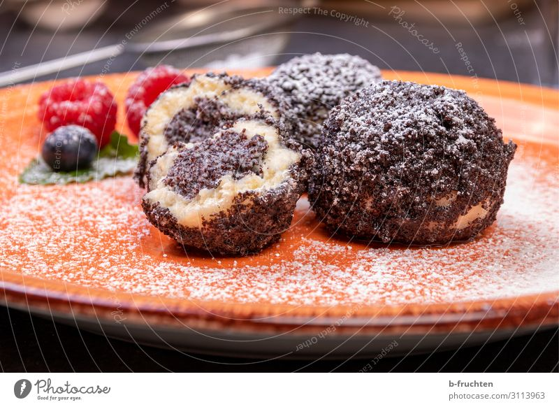 Quark dumplings with poppy seed filling Food Dairy Products Dessert Candy Nutrition Organic produce Vegetarian diet Plate Healthy Eating Kitchen To enjoy Fresh