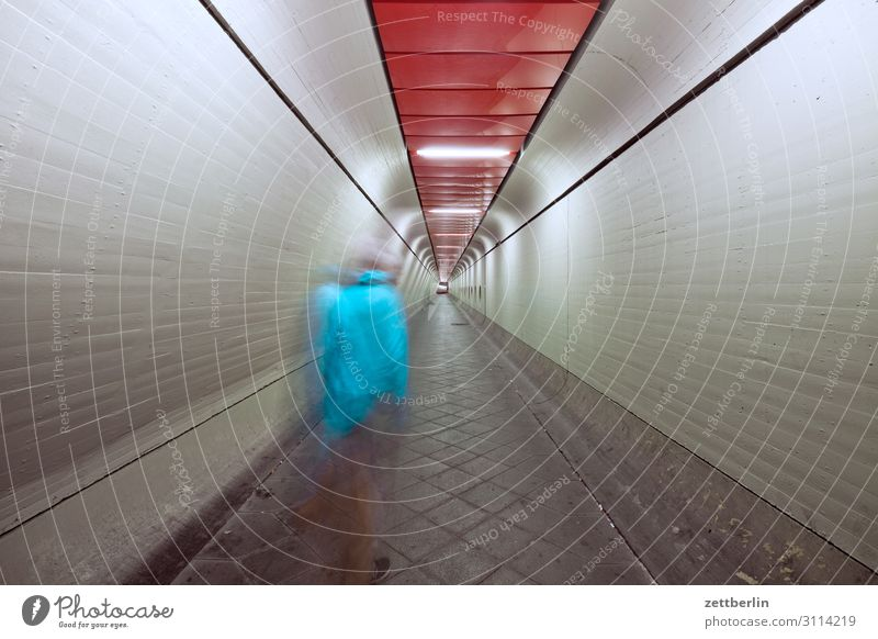Man in tunnel (2) Movement Dark Dynamics Human being Night Airport Berlin-Tegel Tunnel Corridor Hall Warehouse Passage Escape Perspective Central perspective
