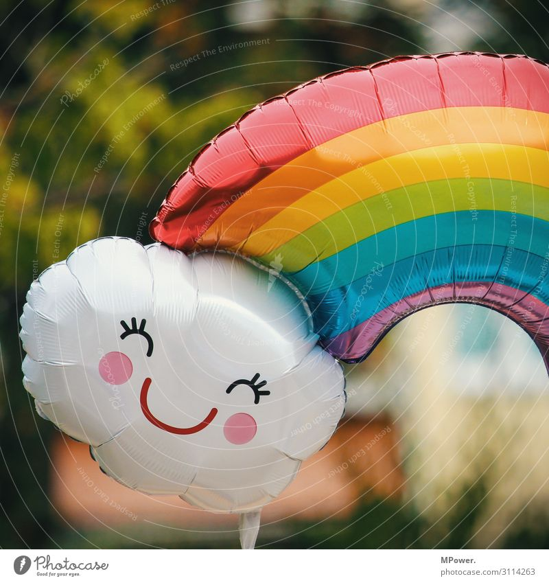 smile Sign Cool (slang) Rainbow Prismatic colors Balloon Face Helium Multicoloured Joy Smiley Flying Hover Colour photo Exterior shot Deserted