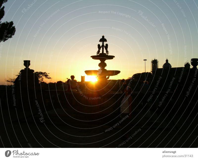 Sunny Water Back-light Italy Fountain Sunset
