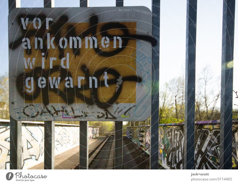 Warning before arriving Subculture Schöneberg Goal Signage Remark Warning label Street art Dirty Trashy Disbelief Uniqueness Idea Creativity Puzzle Bans
