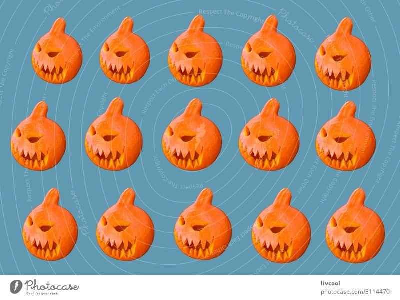 pumpkins on blue background Design Feasts & Celebrations Hallowe'en Infancy Art Work of art Autumn File Decoration Sign To enjoy Smiling Cool (slang) Happy