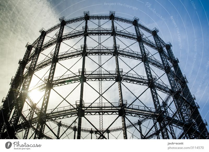 Landmark of Schöneberg Gasometer Architecture Sky Clouds Historic Safety Construction Structures and shapes Twilight Contrast Silhouette Sunlight Back-light