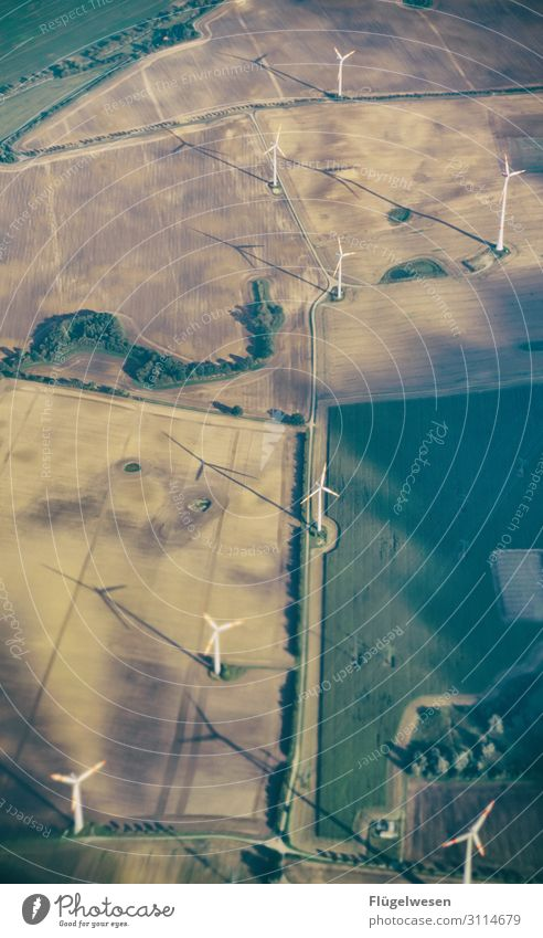 energy revolution Wind energy plant Energy Renewable energy Aerial photograph drone Electricity Future Pinwheel Wing Produce Green Field Airplane