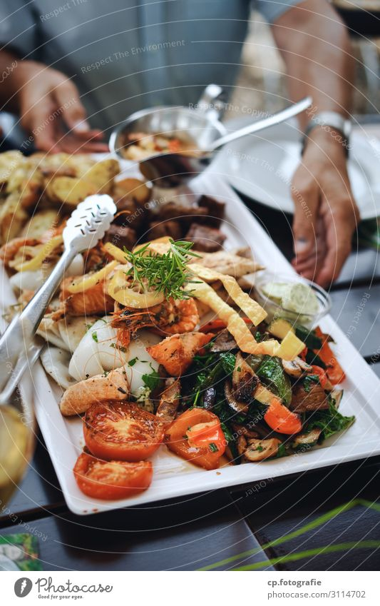 Human being Hand Food Eating Feasts & Celebrations Contentment Nutrition Joie de vivre (Vitality) To enjoy Arm Fish Herbs and spices Vegetable Organic produce