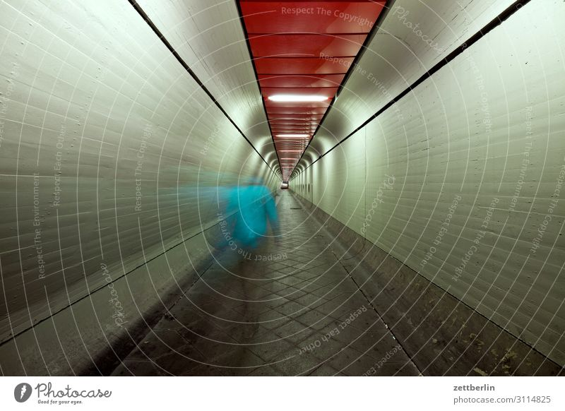 Man in tunnel (4) Movement Dark Dynamics Human being Night Airport Berlin-Tegel Tunnel Corridor Hall Warehouse Passage Escape Perspective Central perspective