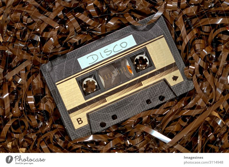 music cassette Tape cassette Tape spaghetti Audio tape Technology Advancement Future Collector's item Plastic Design Uniqueness Past Change