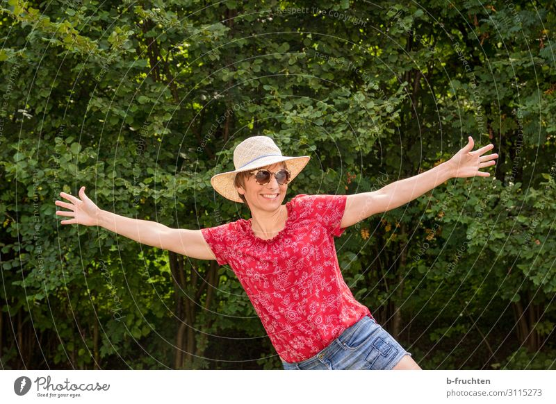 cheerful woman in nature Healthy Well-being Contentment Relaxation Leisure and hobbies Vacation & Travel Summer Feminine Woman Adults 1 Human being