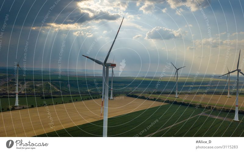 aerial view of wind turbines field energy Nature Wind Power Innovative Environment Environmental protection Aerial view agriculture clouds conservation dawn
