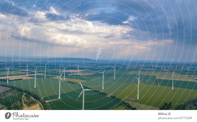 aerial view of wind turbines field Engines Technology Advancement Future Energy industry Wind energy plant Industry Environment Nature Field Power Innovative