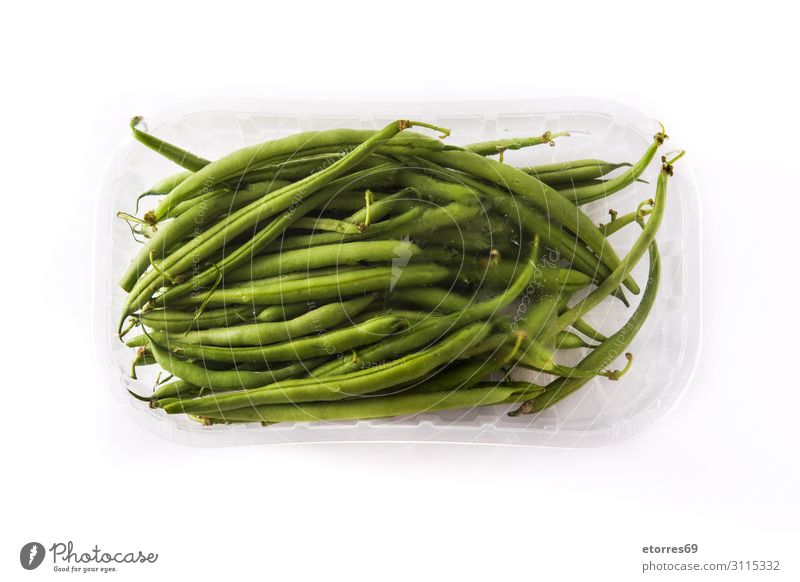 Green beans packaged in plastic isolated green beans Packaged Plastic Tray Supermarket Vegetable Food Healthy Eating Food photograph Beans Fresh