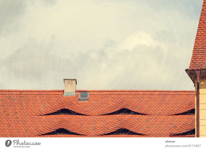 deliberateness Clouds Beautiful weather House (Residential Structure) Building Roof Chimney Roofing tile Skylight Eyes Hip & trendy Red Contentment Safety