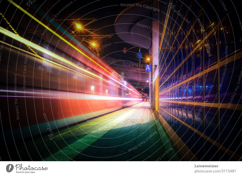 S-Bahn Lights Hannover Germany Europe Town Bridge Tunnel Architecture Facade Transport Means of transport Rush hour Train travel Rail transport Commuter trains