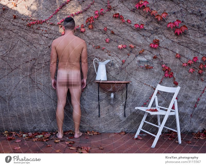 Adult naked man in autumnal backyard Human being Man Naked Beautiful Red Leaf Lifestyle Adults Autumn Natural Health care Fashion Masculine Body Back Seasons