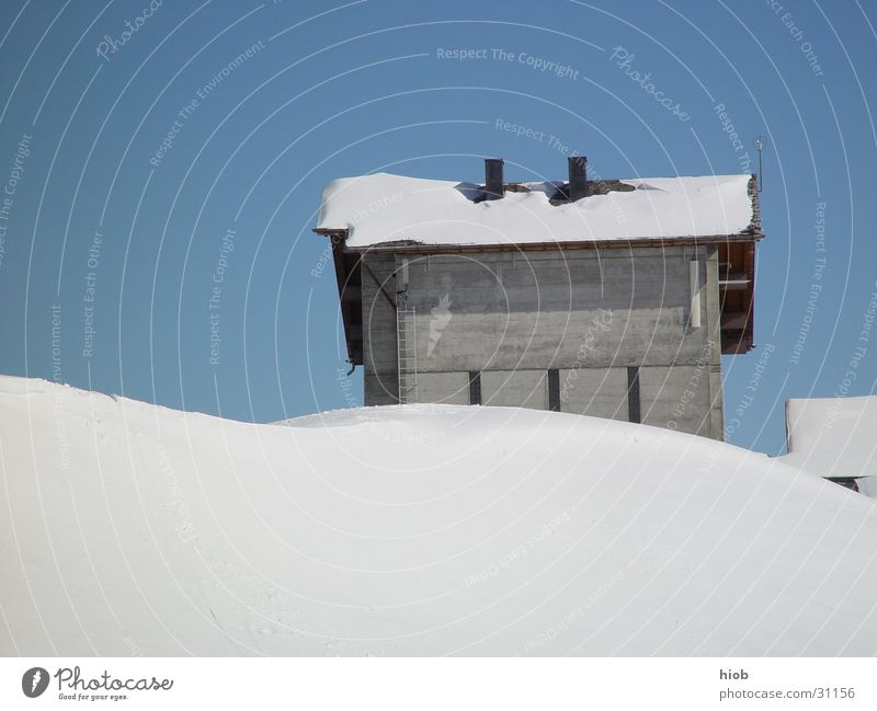Old Winter House (Residential Structure) Snow Mountain Wood Architecture Authentic