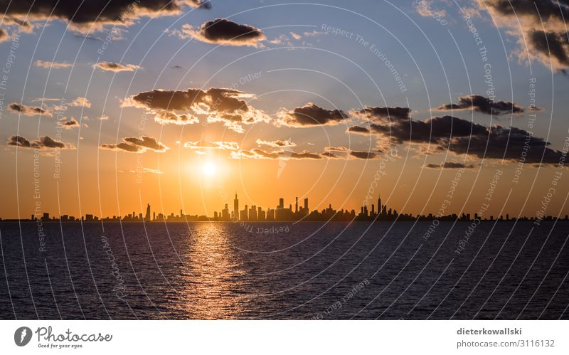 Chicago Town Skyline Vacation & Travel Large Beautiful Travel photography Americas Exciting Sunrise Silhouette Colour photo Deserted Morning