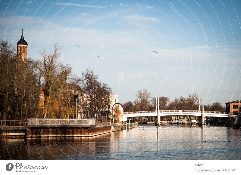 the bridge over the river. Nature Water Sky Beautiful weather River bank Town Downtown Old town Church Bridge Building Lanes & trails Boating trip Calm Idyll
