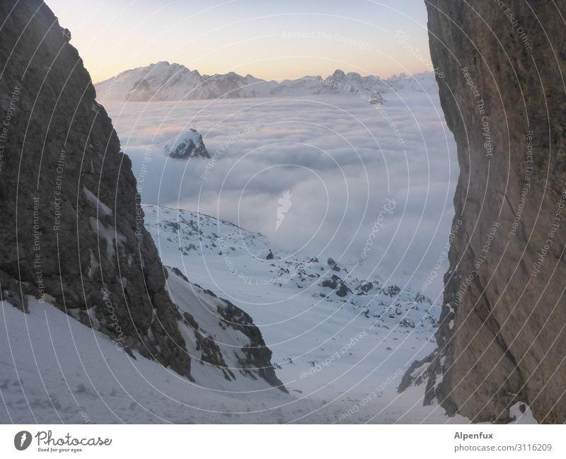 Down, relaxed... Fog Alps Mountain Glacier Canyon Happy Contentment Joie de vivre (Vitality) Self-confident Cool (slang) Optimism Success Power Willpower Brave