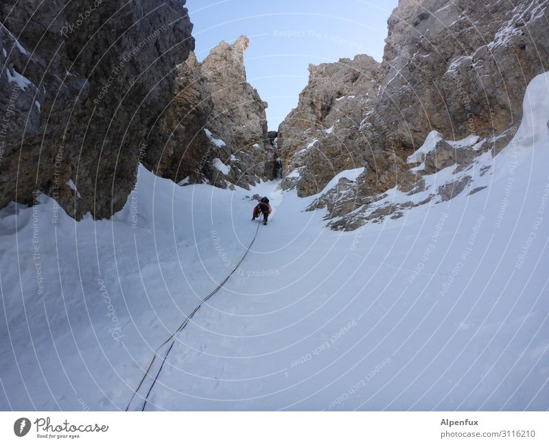 Upstairs, curious... Ice climbing Climbing Alps Mountain Glacier Canyon Self-confident Optimism Success Power Willpower Brave Determination Passion Fear