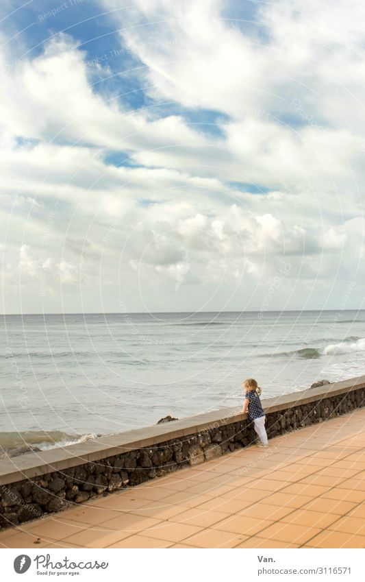 I want sea! Child Toddler Girl 1 Human being 1 - 3 years Nature Landscape Sky Clouds Summer Waves Coast Ocean Promenade Lanzarote Wall (barrier) Wall (building)