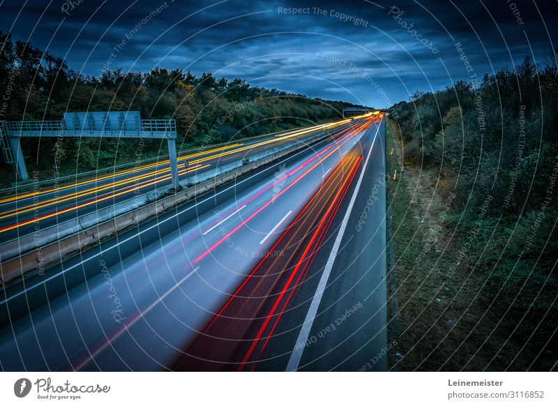 freeway Environment Landscape Sky Weather Bushes garbs Hannover Germany Traffic infrastructure Rush hour Motoring Highway Bridge Car Driving Speed Tracer path