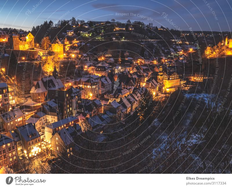 Monschau in winter at night Landscape Night sky Winter Ice Frost Snow Village Tourist Attraction Discover Freeze chill Town Eifel Colour photo Subdued colour