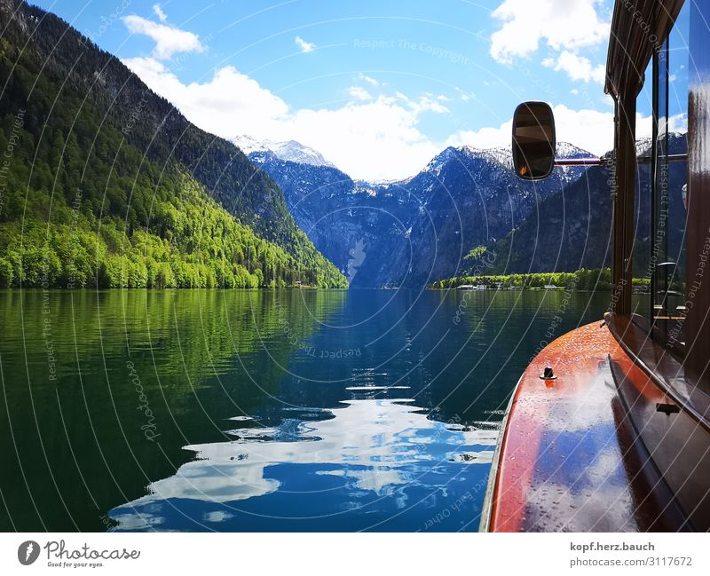 A boat trip Nature Alps Lakeside Lake Königssee Boating trip Relaxation Gigantic Vacation & Travel Idyll Tourism Tradition Logistics Longing Wanderlust Calm