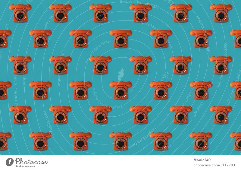 Seamless pattern of an orange retro style phone Wallpaper Office Telecommunications Business To talk Telephone Headset Technology Internet Plastic Line Old