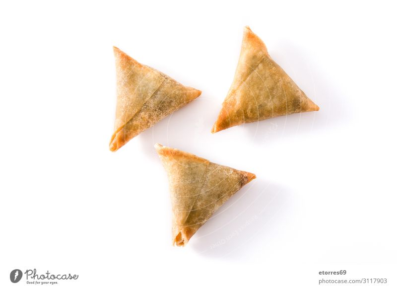 Samsa or samosas with meat and vegetables isolated Healthy Eating Food photograph Dish Vegetable Tradition Vegetarian diet Plate Dinner Meat Snack Lettuce Lunch
