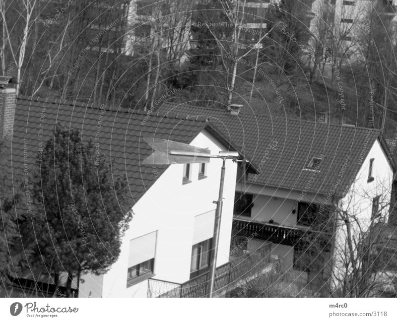 windmill Black & white photo Pinwheel Wind direction Settlement Bird's-eye view Tiled roof Pointed roof Gable end Apartment house Residential area