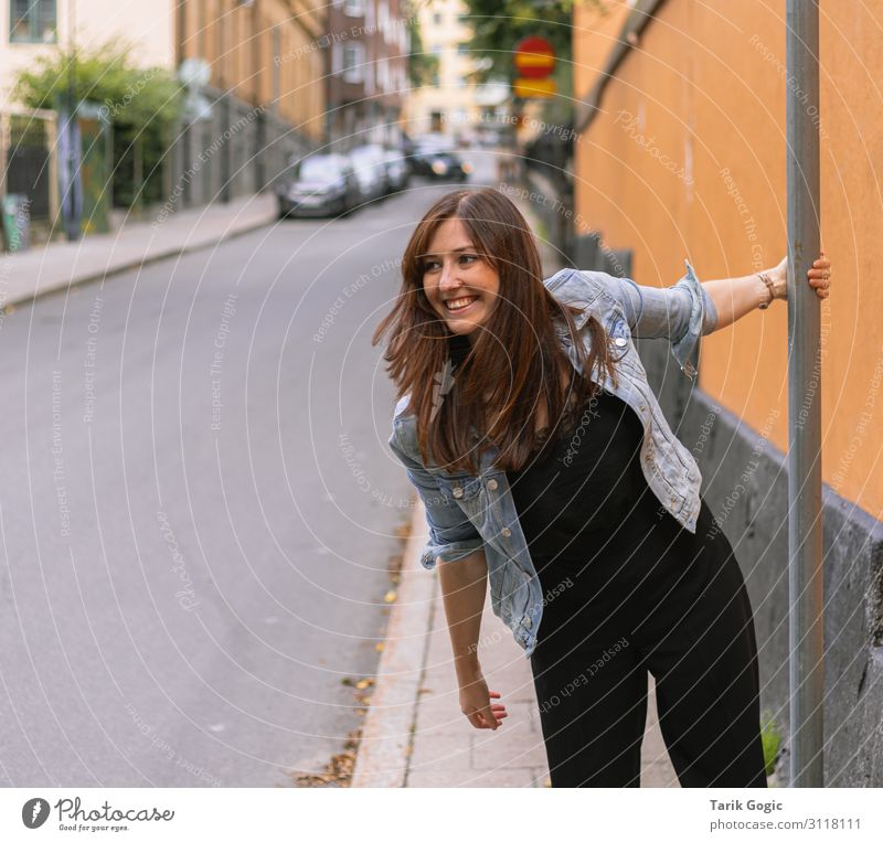 cheerful young woman Feminine Young woman Youth (Young adults) Woman Adults 1 Human being 18 - 30 years Joy Happy To hold on Laughter Smiling Happiness