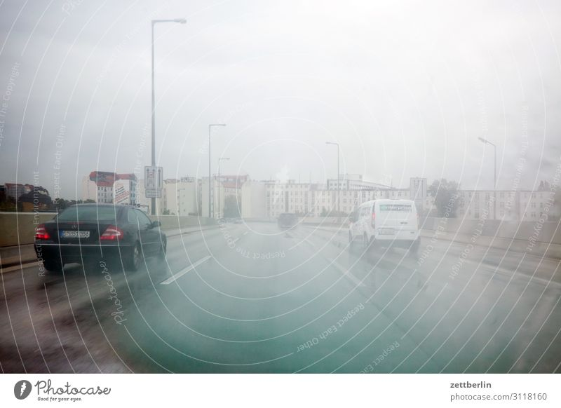 Bad weather on the city motorway Highway Fog Haze Driving Dangerous Risk Precipitation Drizzle Rain Rainwater Travel photography Rush hour Tracks City highway
