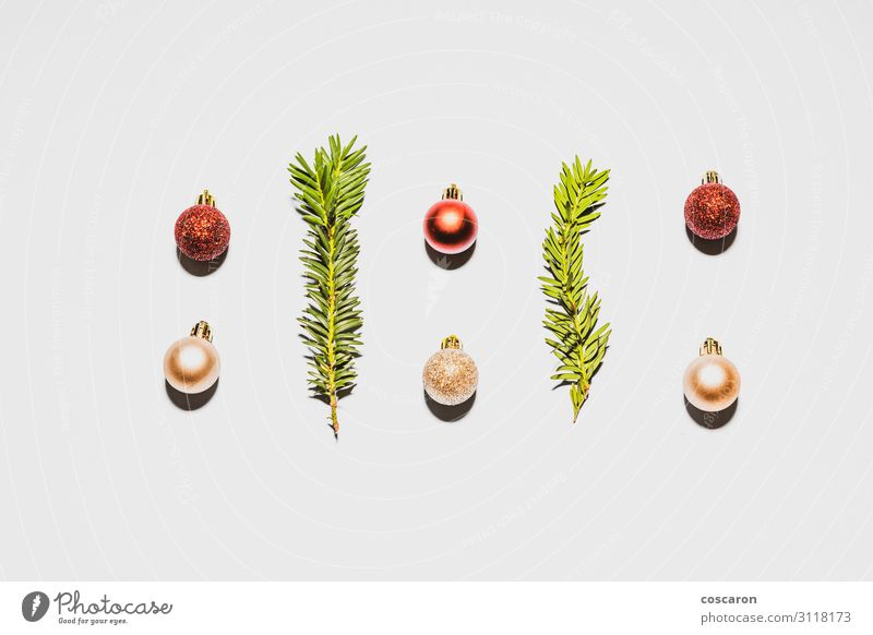 Christmas decoration with balls and branches isolated in white Vacation & Travel Nature Christmas & Advent Plant Colour Beautiful Green White Red Tree Winter