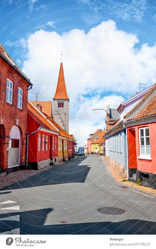 Village with a church in Denmark Vacation & Travel Tourism Summer House (Residential Structure) Culture Landscape Sky Clouds Town Church Building Architecture
