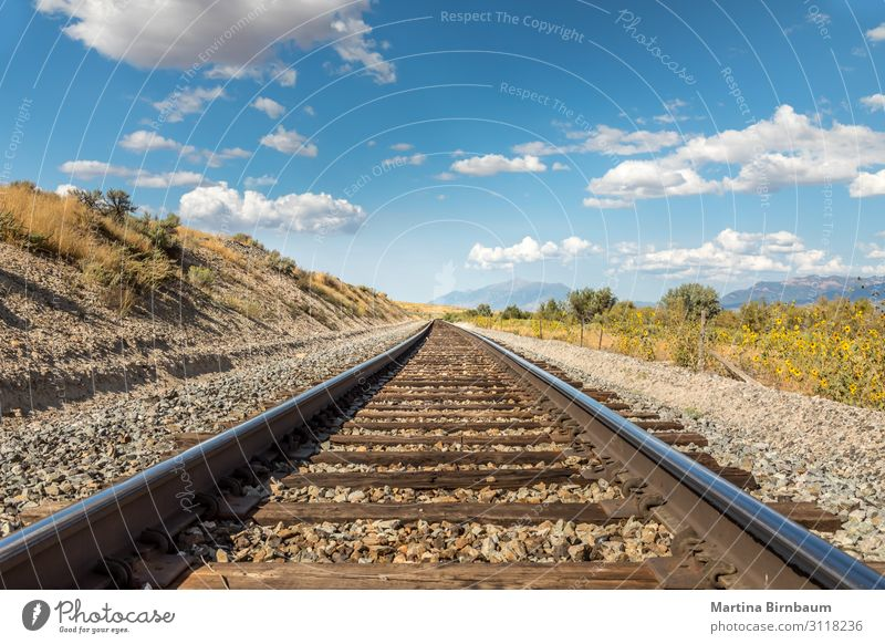 Straight railraod track in the scenic landscape of Utah Vacation & Travel Trip Industry Nature Landscape Sky Clouds Park Rock Canyon Transport Street Railroad