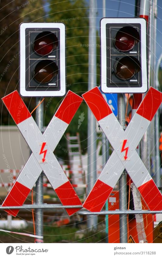 St. Andrew's crosses on a rail construction site Construction site Transport Traffic light Railroad crossing St. Andrew's Cross Control barrier Railroad system