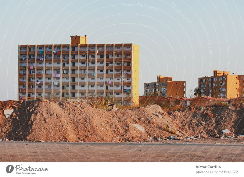 Buildings of the suburbs of a Town Deserted House (Residential Structure) Architecture Far-off places Cheap Retro Poverty Decadence Colour photo