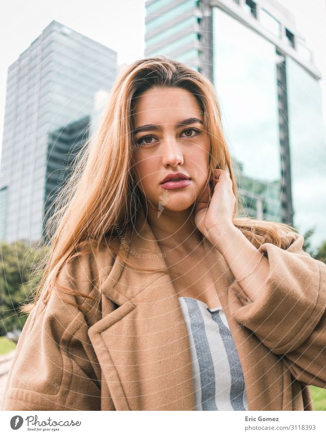 Beautiful young fashionable girl in the city Human being Feminine Young woman Youth (Young adults) 1 18 - 30 years Adults Town Downtown Building Architecture