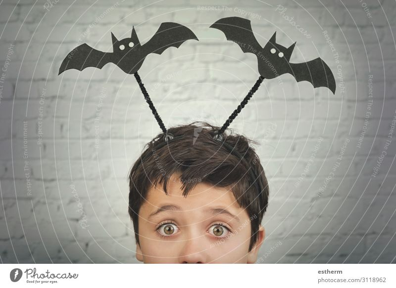 funny child with halloween vampires over on his head Child Human being Animal Dark Autumn Religion and faith Emotions Feasts & Celebrations Death Fear Masculine
