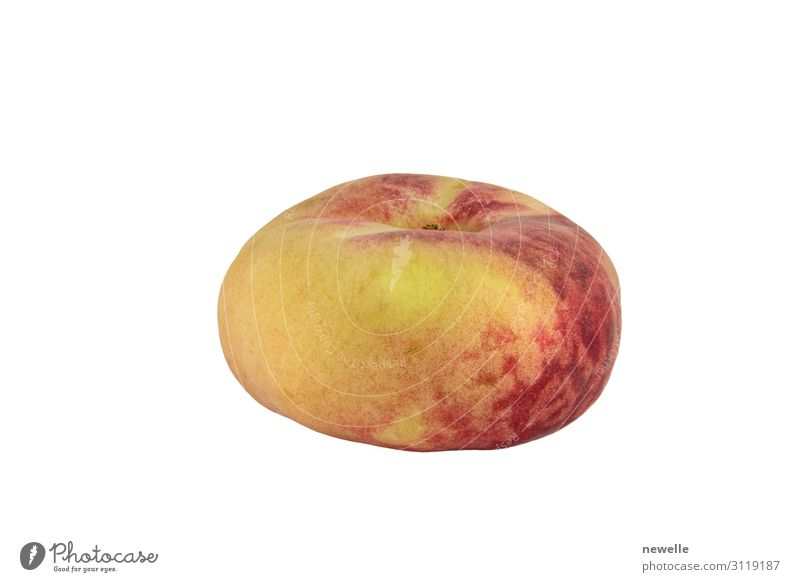 Peach Saturn isolated on white background photo Fruit Vegetarian diet Diet Exotic Skin Group Fresh Funny Juicy Soft Yellow Red White flat Donut food sweet
