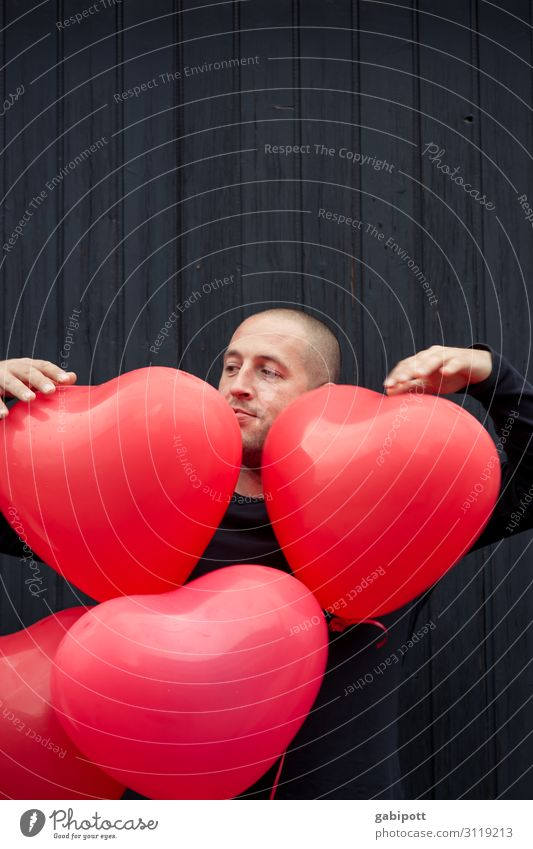 jack of hearts Human being Masculine Man Adults Decoration Balloon Sign Heart Friendliness Happiness Red Colour Joy Joie de vivre (Vitality) Passion Sincere