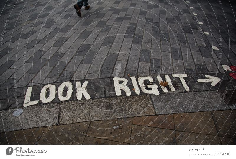 LOOK RIGHT London England Town Transport Traffic infrastructure Pedestrian Street Crossroads Lanes & trails Road sign Stone Sign Characters Signs and labeling