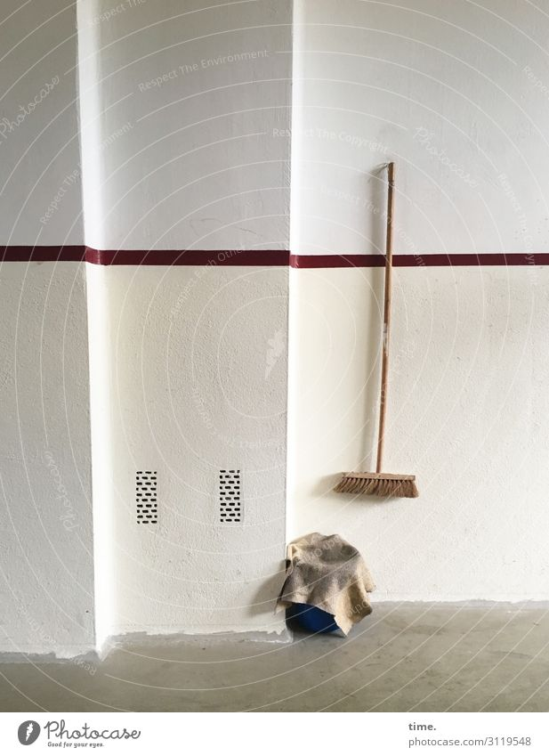 job guarantee Living or residing Flat (apartment) Interior design Hallway Broom Floor cloth Bucket Ventilation shaft Workplace Wall (barrier) Wall (building)