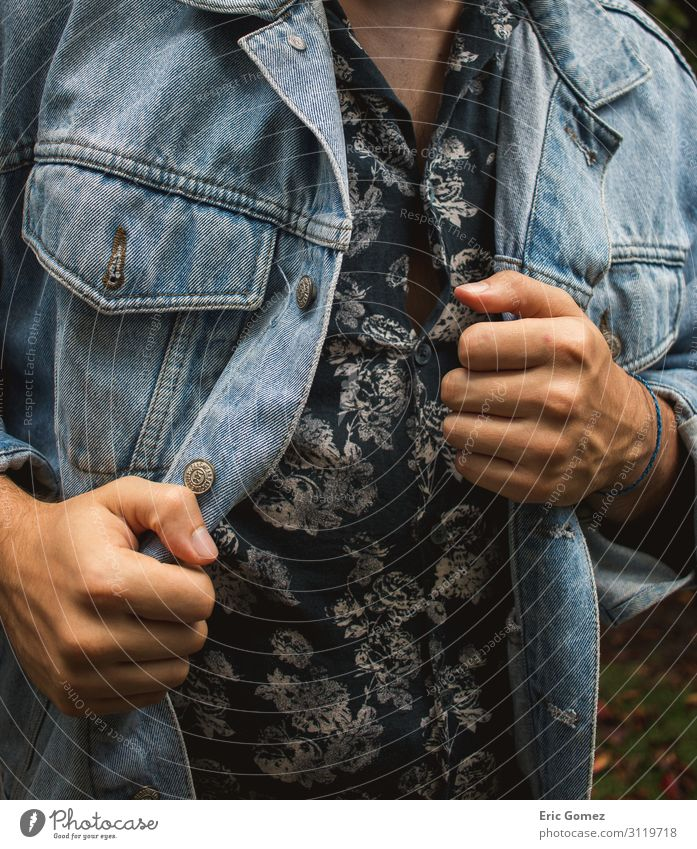 Stylish young man in flower button-up shirt and jean jacket Lifestyle Shopping Human being Masculine Young man Youth (Young adults) 1 18 - 30 years Adults