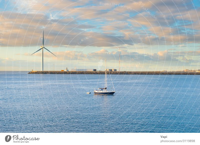 Landscape with bay, breakwater, windmill and yacht Lifestyle Beautiful Leisure and hobbies Fishing (Angle) Vacation & Travel Tourism Adventure Far-off places