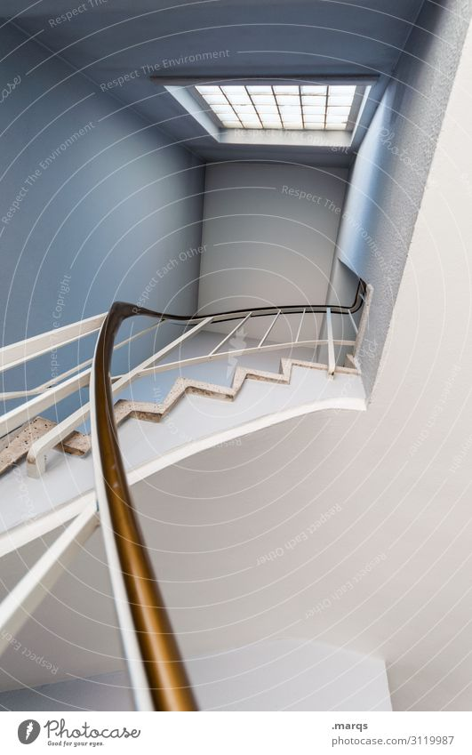 the way up Lifestyle Design Interior design Stairs Window Banister Sharp-edged New Blue White Effort Success Target Above Colour photo Interior shot Deserted