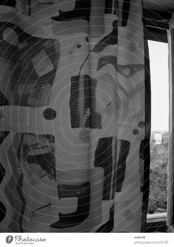 Curtain the 2nd Drape Window Photographic technology Nature Black & white photo